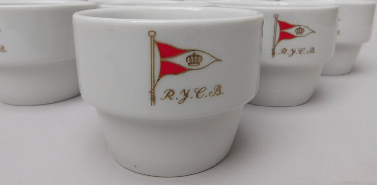 A set of 12 R.Y.C.B (Royal Yacht Club Belgium cups from the 1960s.
