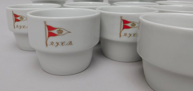 Belgian Vintage Set of 12 Royal Yacht Club Belgium Cups For Sale
