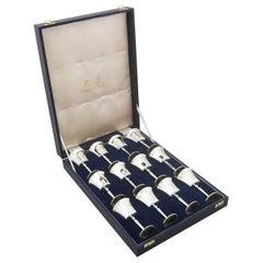 Vintage Set of 12 Sterling Silver Goblets, 1968