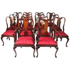 Vintage Set of 14 Queen Anne Style Dining Chairs, Mid-20th Century