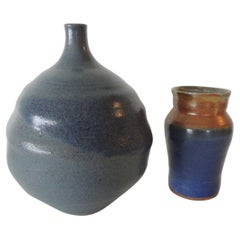 Vintage Set of '2' Mid-Century Modern Blue and Orange Art Pottery