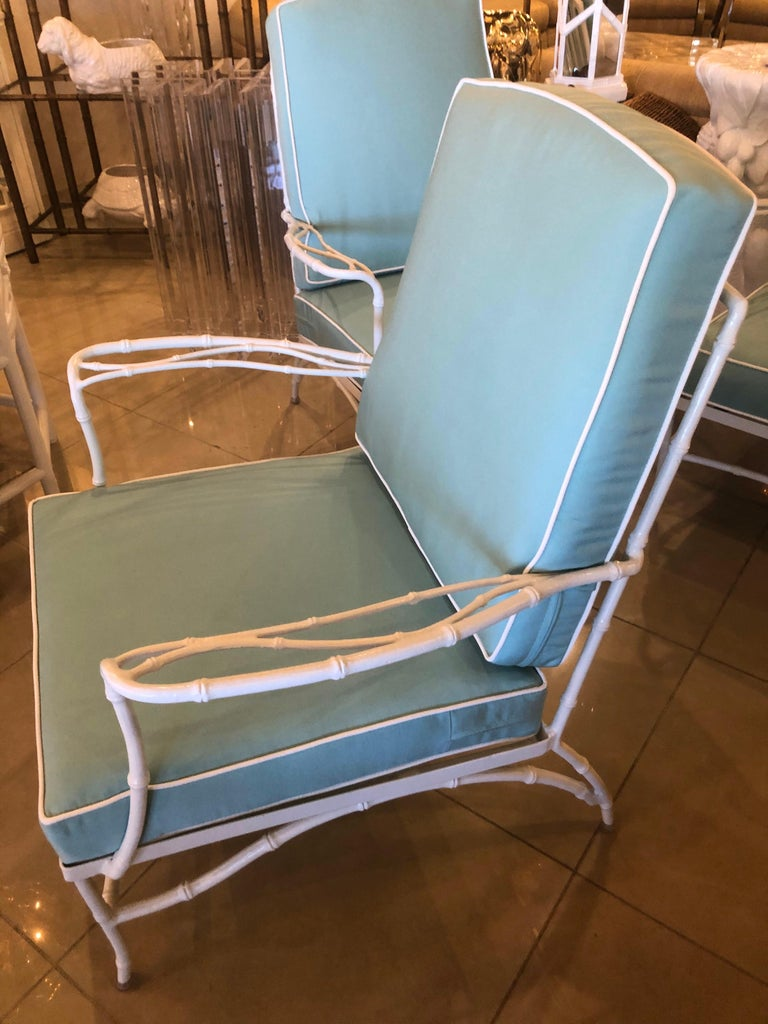 Vintage Set of 3 Faux Bamboo Powder-Coated  Lounge Club Patio Chairs Sunbrella  For Sale 4