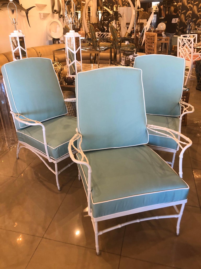 Vintage Set of 3 Faux Bamboo Powder-Coated  Lounge Club Patio Chairs Sunbrella  For Sale 5