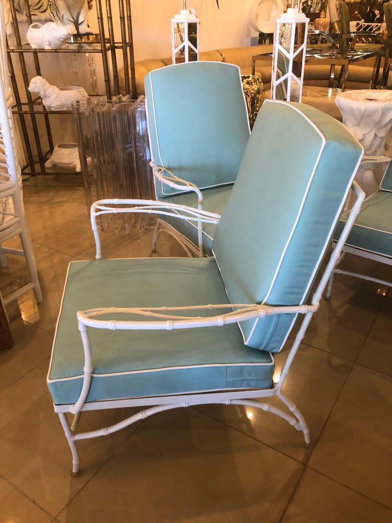 Vintage Set of 3 Faux Bamboo Powder-Coated  Lounge Club Patio Chairs Sunbrella  For Sale 9