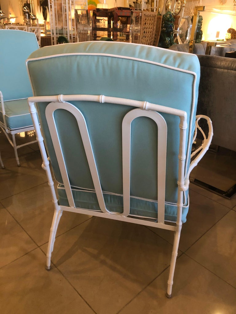 Vintage Set of 3 Faux Bamboo Powder-Coated  Lounge Club Patio Chairs Sunbrella  In Excellent Condition For Sale In West Palm Beach, FL