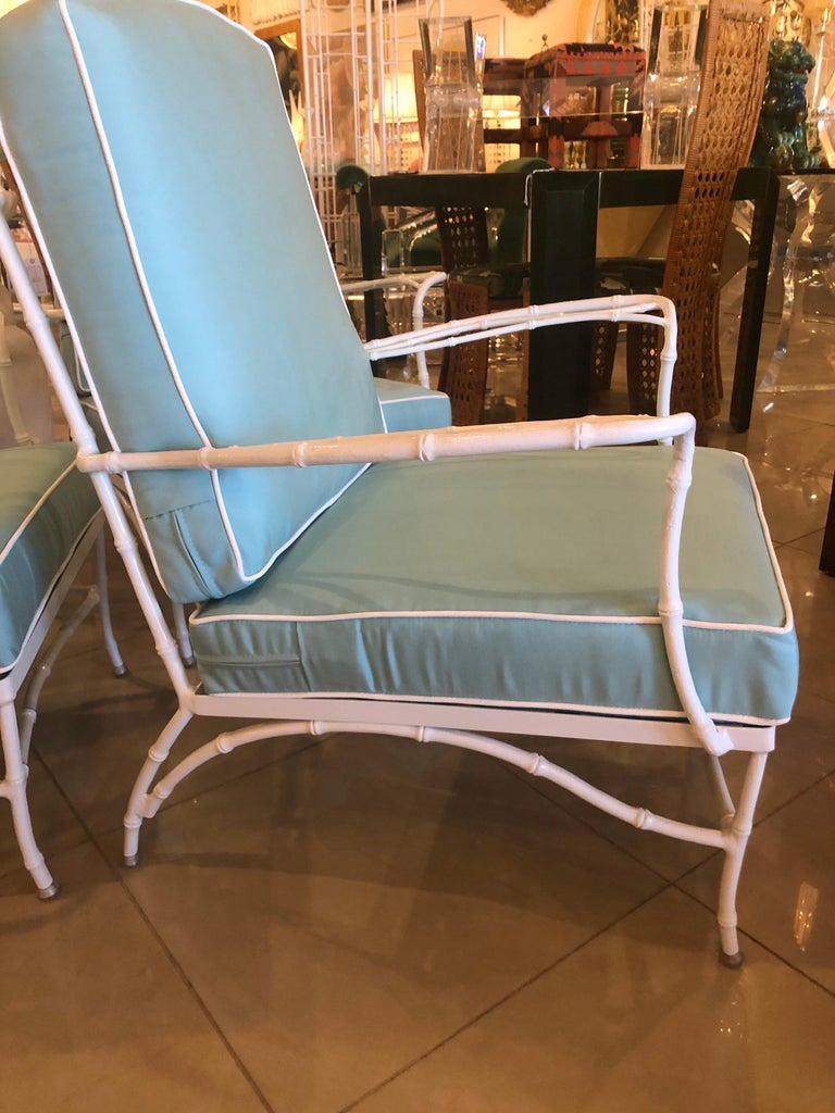 Late 20th Century Vintage Set of 3 Faux Bamboo Powder-Coated  Lounge Club Patio Chairs Sunbrella  For Sale