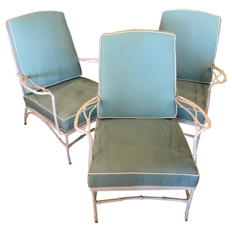 Vintage Set of 3 Faux Bamboo Powder-Coated  Lounge Club Patio Chairs Sunbrella  For Sale