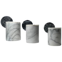 Vintage Set of 3 Italian Post Modern Memphis Marble Canisters Attrib to Raymor