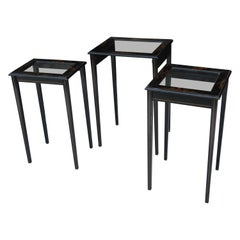 Vintage Set of 3 Japanned Nesting Tables