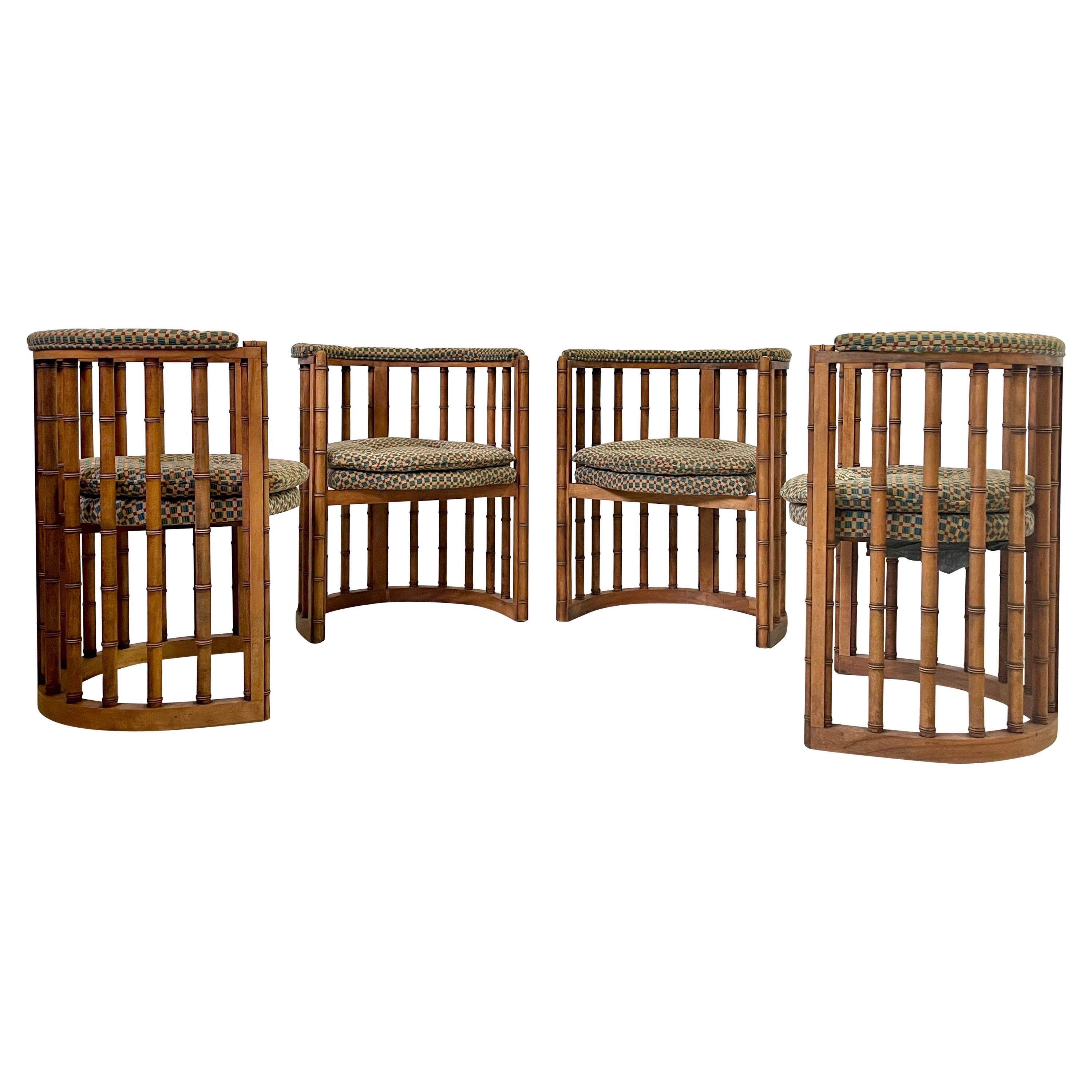 Vintage Set of 4 Bamboo Barrel Back Game Chairs
