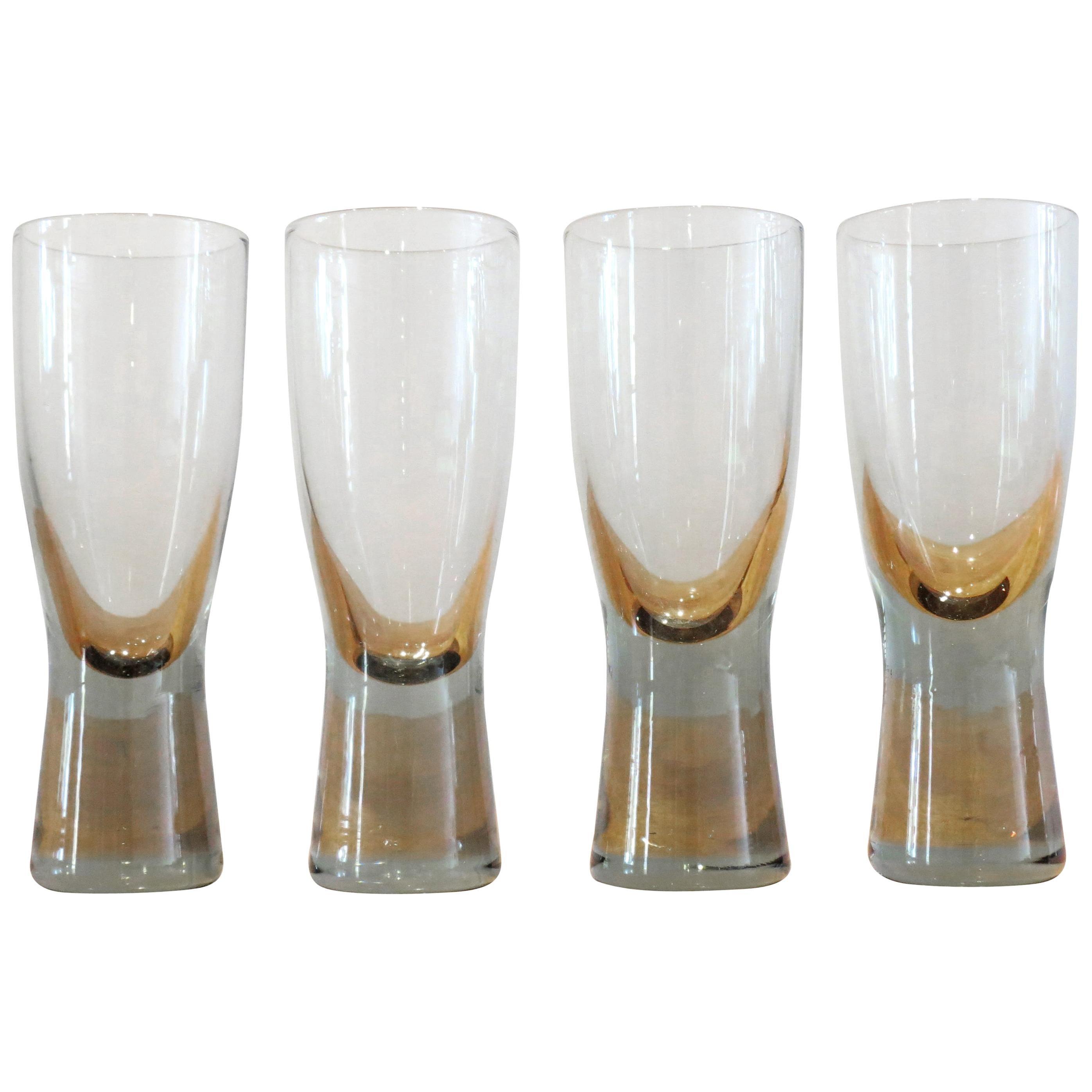 Vintage Set of 4 Danish Holmegaard Canada Smoked Glass Glasses by Per Lutken