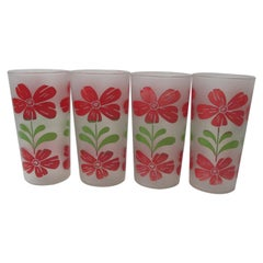 Vintage Set of '4' Frosted Glass Hand Painted Glasses