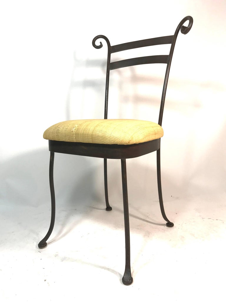 Minimalist Vintage Set of 4 Iron Cafe Dining Side Chairs Handcrafted For Sale