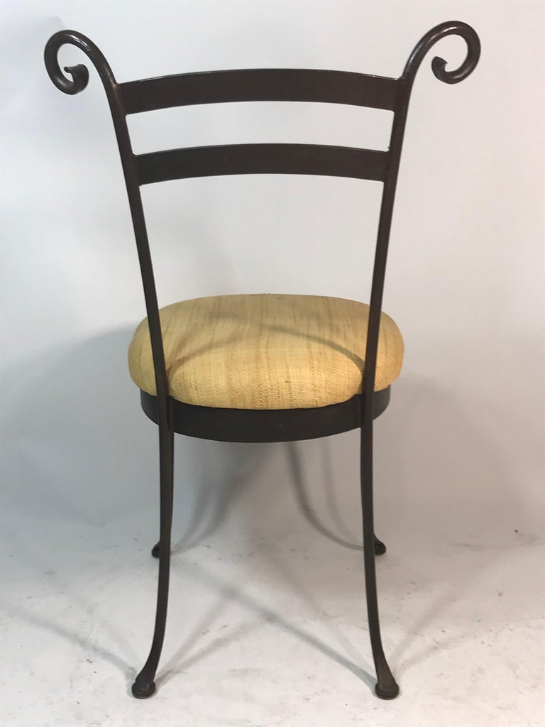 American Vintage Set of 4 Iron Cafe Dining Side Chairs Handcrafted For Sale