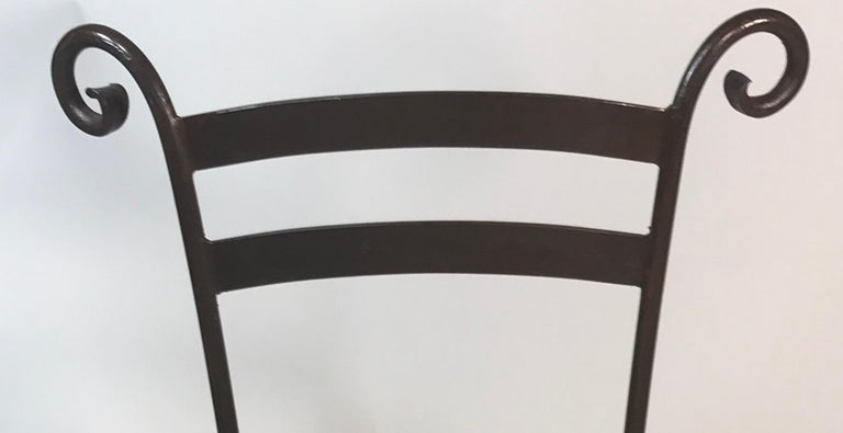 Hand-Crafted Vintage Set of 4 Iron Cafe Dining Side Chairs Handcrafted For Sale