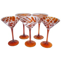 Vintage Set of 5 Orange Glass Animal Print Martini Glasses