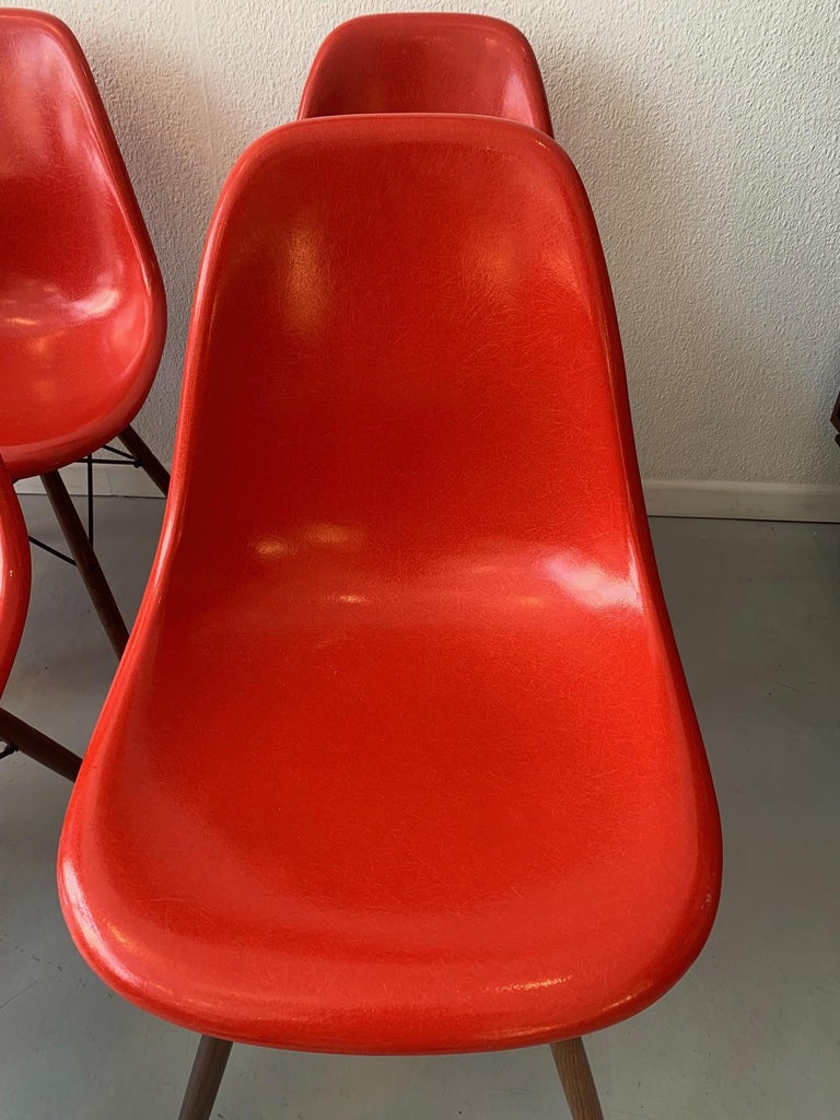 Swiss Vintage Set of 6 Cherry Red Fiberglass Dowel Chairs by Charles & Ray Eames For Sale