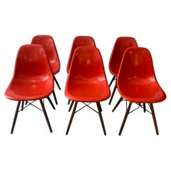 Vintage Set of 6 Cherry Red Fiberglass Dowel Chairs by Charles & Ray Eames