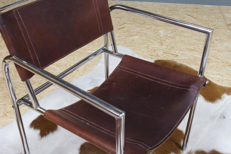 Vintage Set of 6 Dining Room Chairs in Brown Leather and Chrome, 1960s Design For Sale 5
