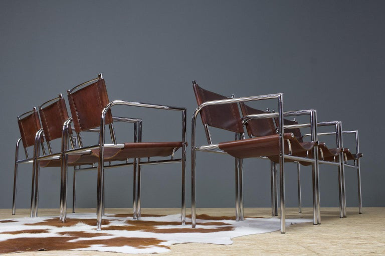 Mid-Century Modern Vintage Set of 6 Dining Room Chairs in Brown Leather and Chrome, 1960s Design For Sale