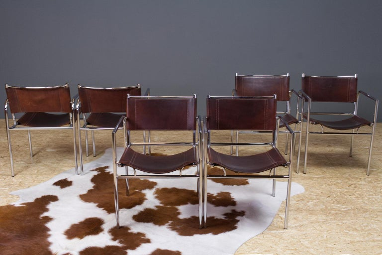 European Vintage Set of 6 Dining Room Chairs in Brown Leather and Chrome, 1960s Design For Sale