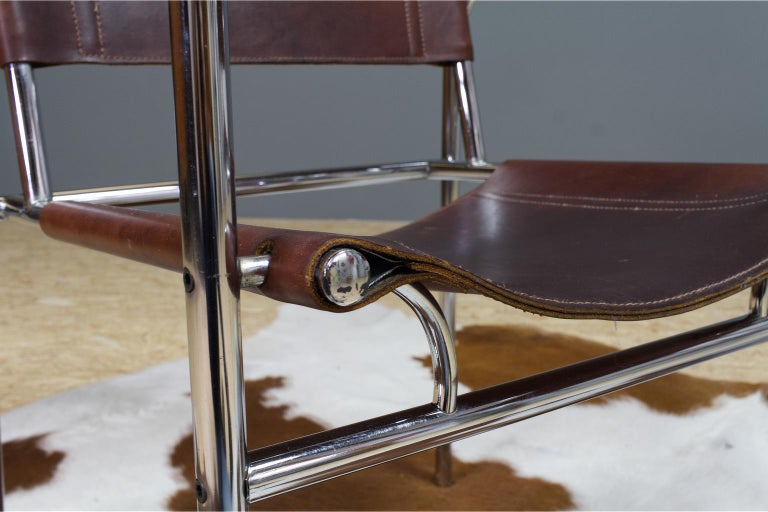 Vintage Set of 6 Dining Room Chairs in Brown Leather and Chrome, 1960s Design For Sale 1