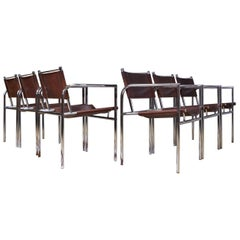 Vintage Set of 6 Dining Room Chairs in Brown Leather and Chrome, 1960s Design
