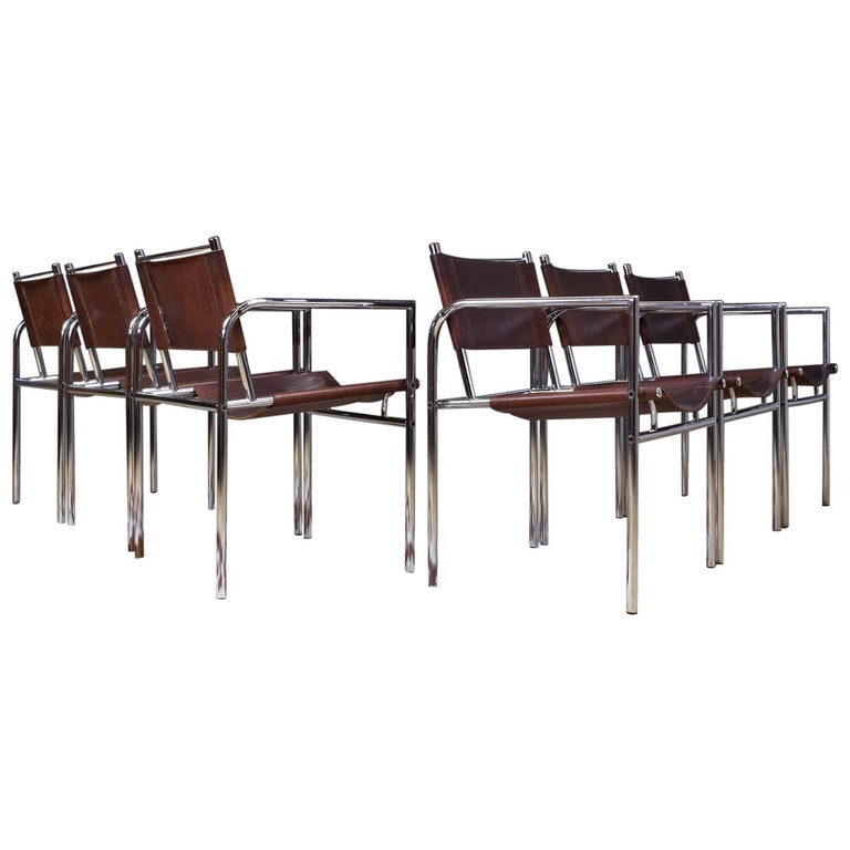 Vintage Set of 6 Dining Room Chairs in Brown Leather and Chrome, 1960s Design For Sale