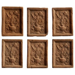 Vintage Set of 6 Earthenware Tiles with Flowers
