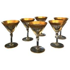 Vintage Set of 6 Etched Floral Gold Band Champagne Glasses
