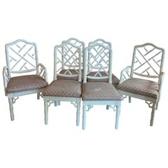 Vintage Set of 6 Faux Bamboo Chinese Chippendale Dining Side & Arm Chairs