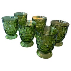 Vintage Set of 6 Green Glass Wine Water Glasses