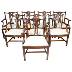 Vintage Set of 6 Mahogany Chippendale Revival Armchairs, 20th Century