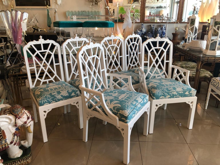 Vintage Set Of 6 Newly Lacquered Pagoda Chinese Chippendale Dining Chairs At 1stdibs