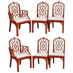 Vintage Set of 6 Newly Lacquered Pagoda Chinese Chippendale Dining Chairs