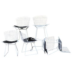 Vintage Set of 6 White Harry  Bertoia Side Chairs