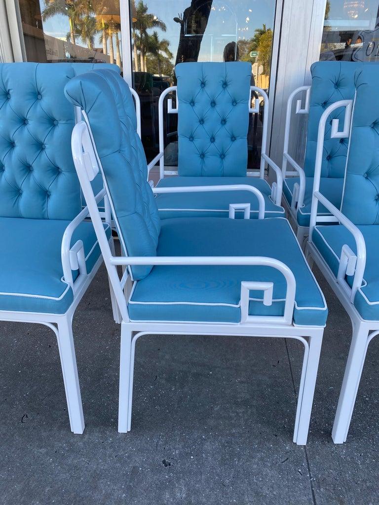 Hollywood Regency Vintage Set of 6 White Mastercraft Greek Key Dining Armchairs New Upholstered For Sale