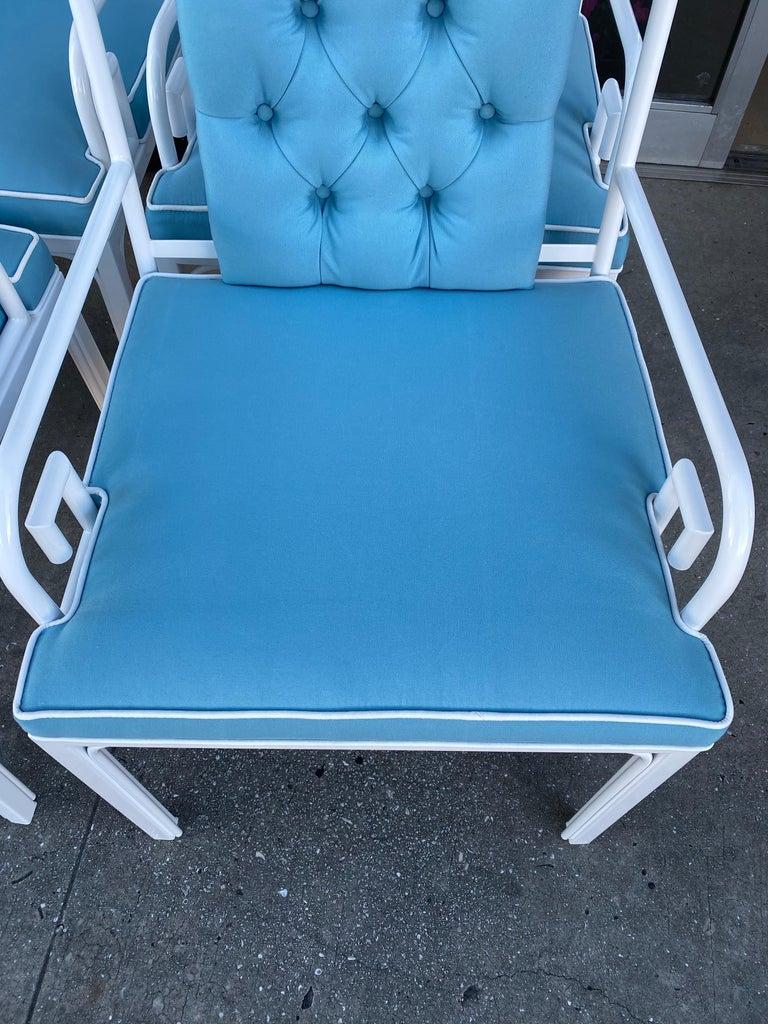 Powder-Coated Vintage Set of 6 White Mastercraft Greek Key Dining Armchairs New Upholstered For Sale