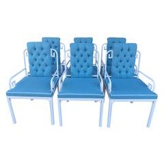 Vintage Set of 6 White Mastercraft Greek Key Dining Armchairs New Upholstered