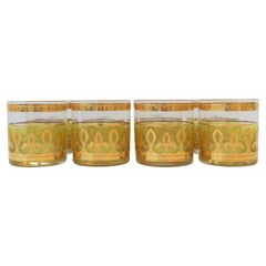 '60s Designer Set of Yellow and Gold Rocks' Cocktail Glasses