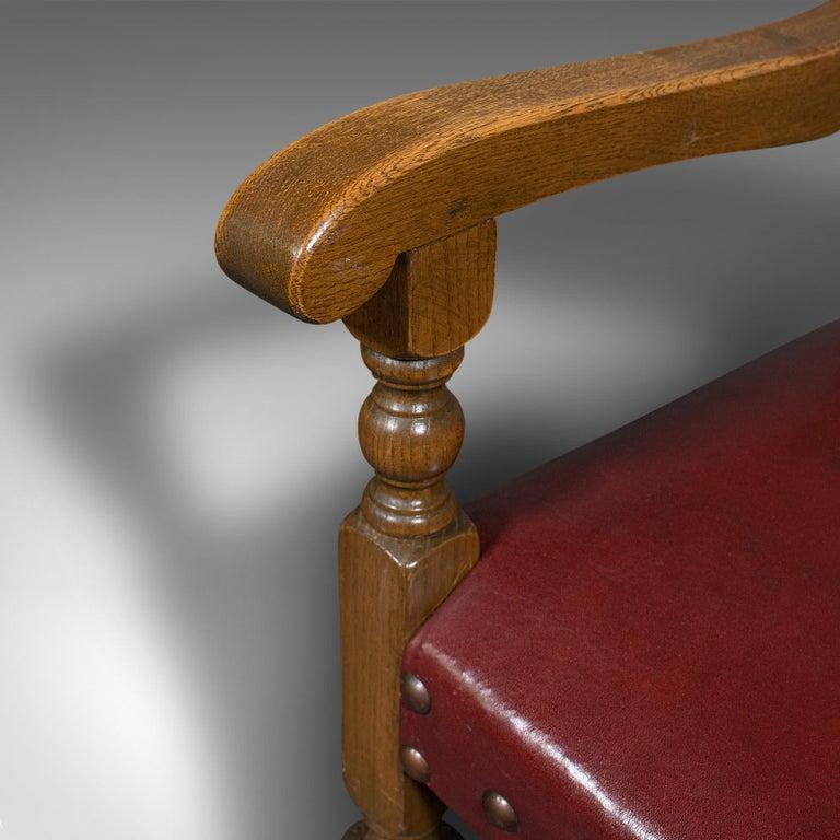 Vintage, Set of 8 Dining Chairs, English, Oak, Leather, Carolean Revival Taste For Sale 5