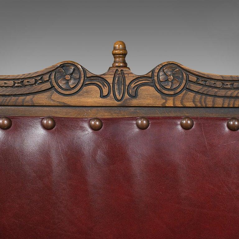 Vintage, Set of 8 Dining Chairs, English, Oak, Leather, Carolean Revival Taste For Sale 6