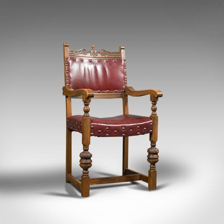 British Vintage, Set of 8 Dining Chairs, English, Oak, Leather, Carolean Revival Taste For Sale