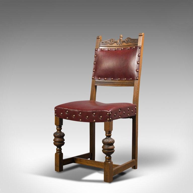 Vintage, Set of 8 Dining Chairs, English, Oak, Leather, Carolean Revival Taste For Sale 1