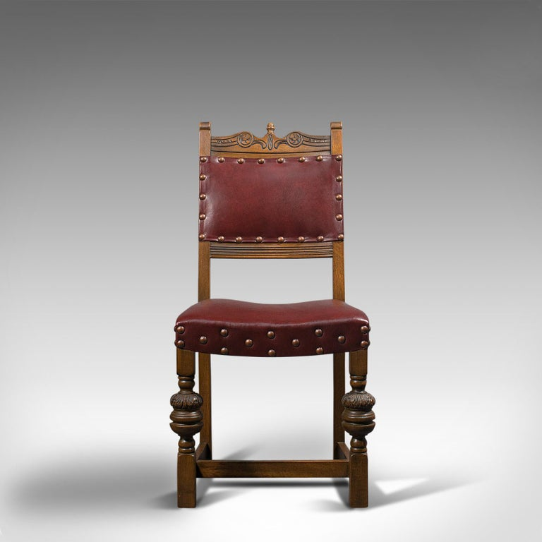 Vintage, Set of 8 Dining Chairs, English, Oak, Leather, Carolean Revival Taste For Sale 2
