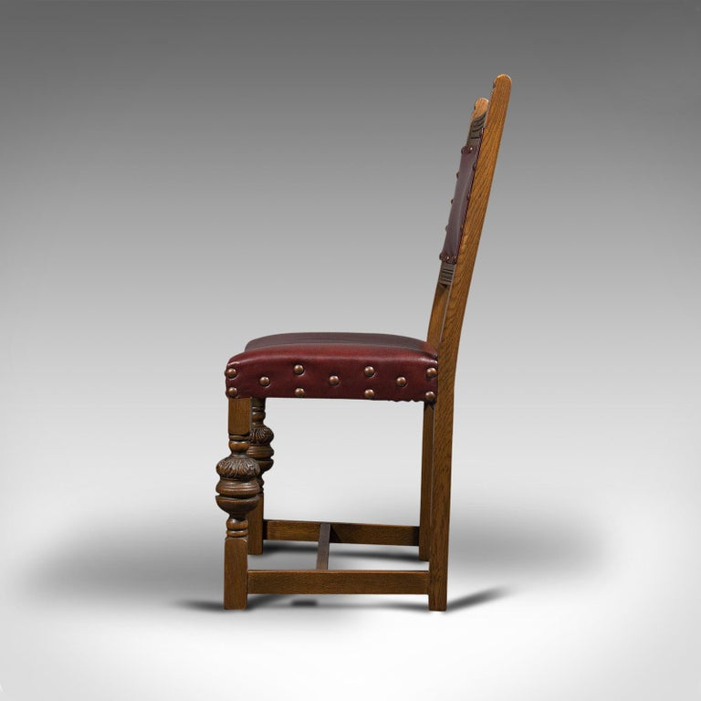 Vintage, Set of 8 Dining Chairs, English, Oak, Leather, Carolean Revival Taste For Sale 3