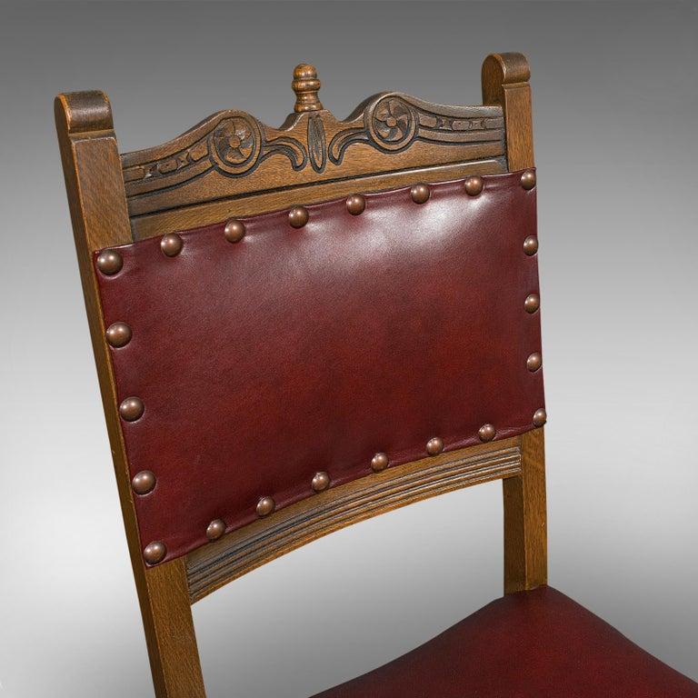 Vintage, Set of 8 Dining Chairs, English, Oak, Leather, Carolean Revival Taste For Sale 4