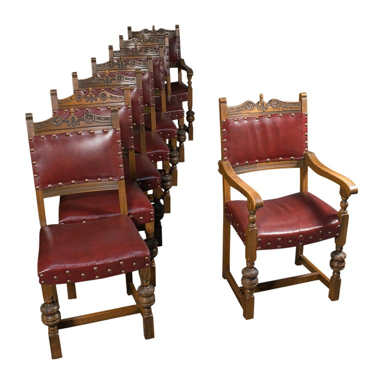 Vintage, Set of 8 Dining Chairs, English, Oak, Leather, Carolean Revival Taste For Sale