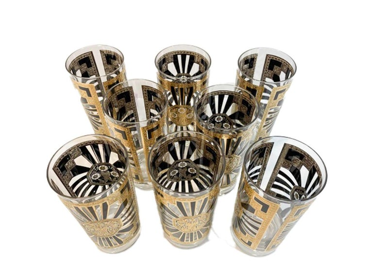 Mid-Century Modern Vintage Set of 8 Georges Briard Highball Glasses in the Art Deco Pattern For Sale