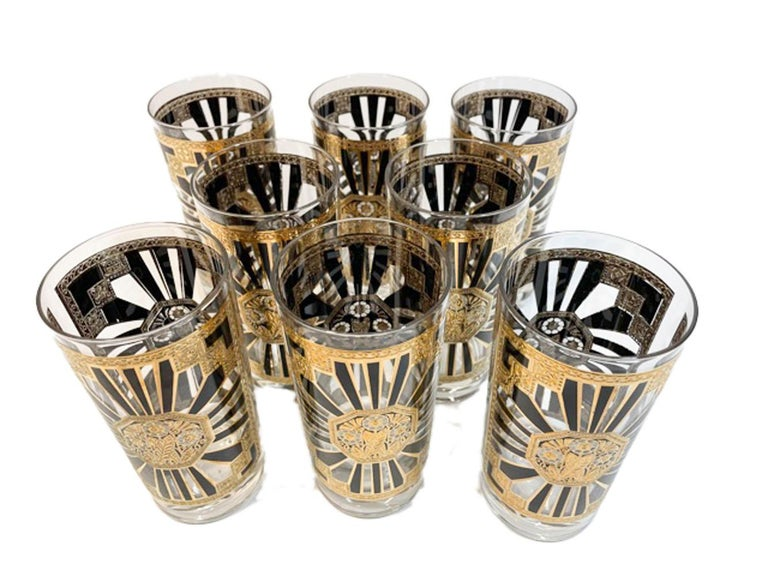 North American Vintage Set of 8 Georges Briard Highball Glasses in the Art Deco Pattern For Sale